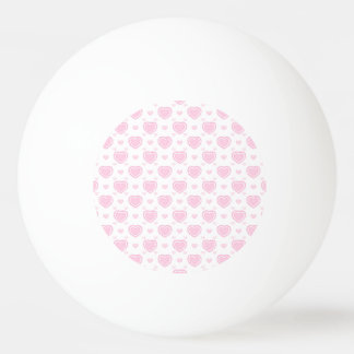 Romantic Pink & White Hearts Ping Pong Ball