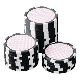 Romantic Pink & White Hearts Poker Chips