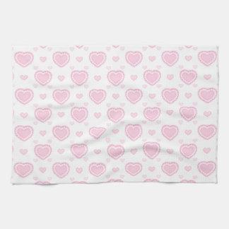 Romantic Pink & White Hearts Tea Towel
