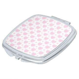 Romantic Pink & White Hearts Travel Mirror