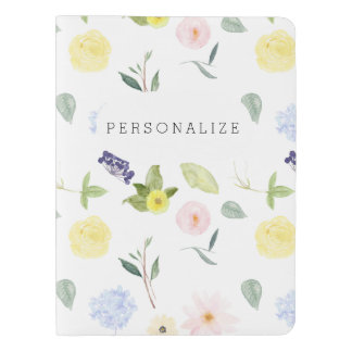 Romantic Pink Yellow Watercolor Floral Extra Large Moleskine Notebook