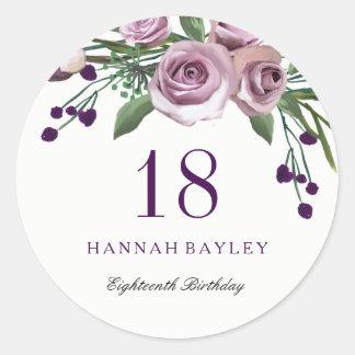 Romantic Plum Purple Rose Floral 18th Birthday Classic Round Sticker