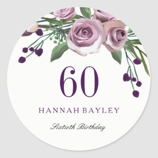 Romantic Plum Purple Rose Floral 60th Birthday Classic Round Sticker