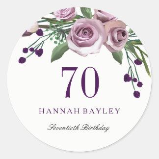 Romantic Plum Purple Rose Floral 70th Birthday Classic Round Sticker