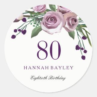Romantic Plum Purple Rose Floral 80th Birthday Classic Round Sticker