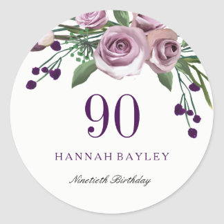 Romantic Plum Purple Rose Floral 90th Birthday Classic Round Sticker