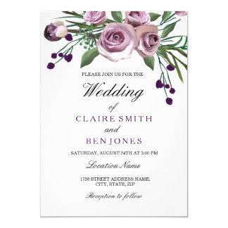 Romantic Plum Purple Rose Floral Wedding Invite