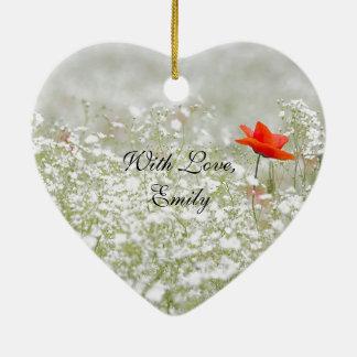 Romantic Poppy Flower Red White Meadow Nature Ceramic Ornament