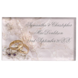 Romantic pretty wedding rings table card holder
