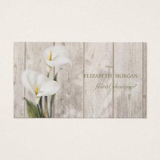 Romantic Professional  ,Calla,Wood Texture Business Card