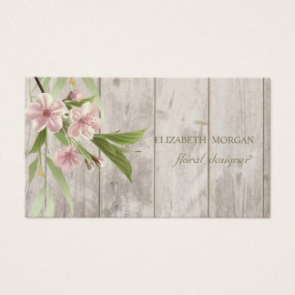 Romantic Professional Cherry Tree ,Wood Texture Business Card