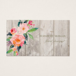 Romantic Professional  ,Flowers,Wood Texture Business Card