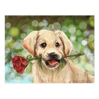 Romantic puppy postcard