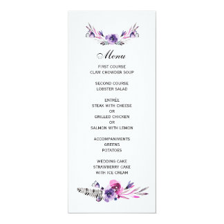 Romantic Purple and Pink Floral Wedding Menu 10 Cm X 24 Cm Invitation Card