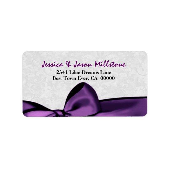 Romantic Purple Bow Wedding Label