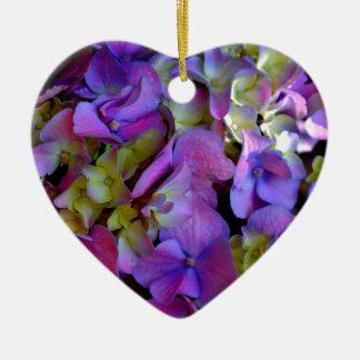 Romantic Purple Hydrangeas Ceramic Heart Decoration