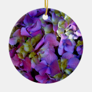 Romantic Purple Hydrangeas Round Ceramic Decoration