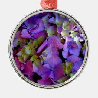 Romantic Purple Hydrangeas Silver-Colored Round Decoration