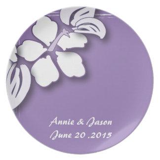 Romantic Purple Passion Flower Wedding Plate