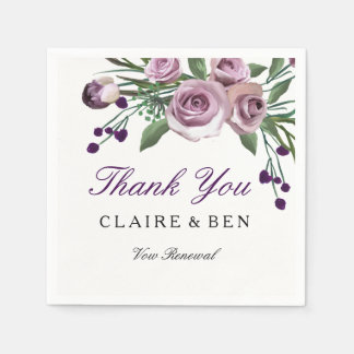 Romantic Purple Rose Wedding Vow Renewal Napkin Disposable Serviettes