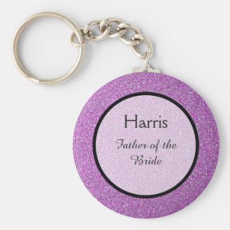 Romantic Purple Sparkles Wedding Favor Key Ring
