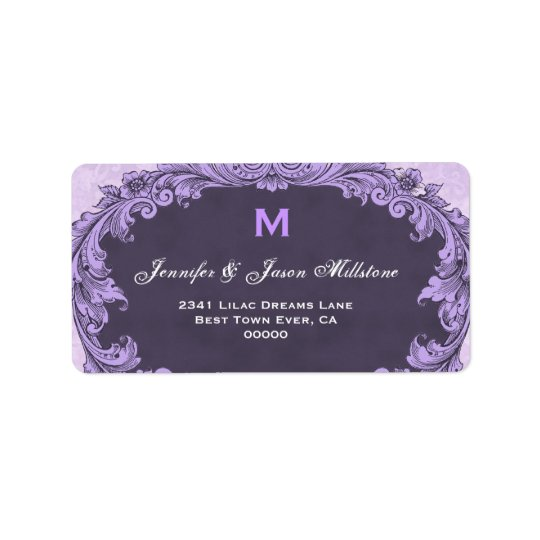 Romantic Purple Vintage Monogram Address Label
