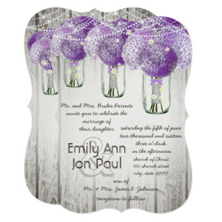 Romantic Radiant Orchid Mason Jar Firefly Wedding Card