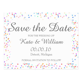 Romantic Rainbow Confetti Save the Date Postcard