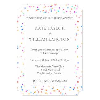 Romantic Rainbow Confetti Wedding Invitation