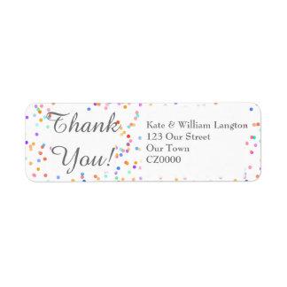 Romantic Rainbow Confetti Wedding Thank You Return Address Label
