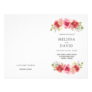 Romantic Red and Pink Roses Wedding Programs 21.5 Cm X 28 Cm Flyer