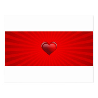 Romantic red banner gift with love and red heart postcard