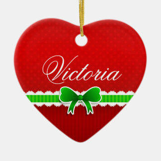 Romantic Red Christmas Design Cute Bow Custom Name Ceramic Heart Decoration