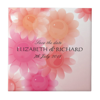 Romantic red coral floral Save the date Tile