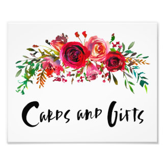 Romantic Red Floral Cards & Gifts Photo Print
