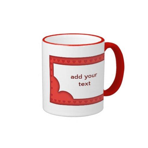 Romantic red frame with hearts coffee mug