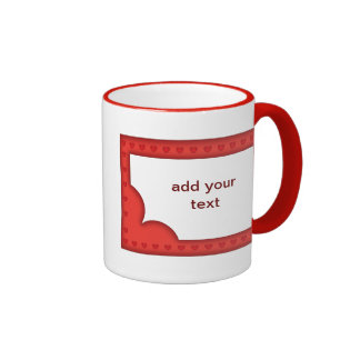 Romantic red frame with hearts ringer mug