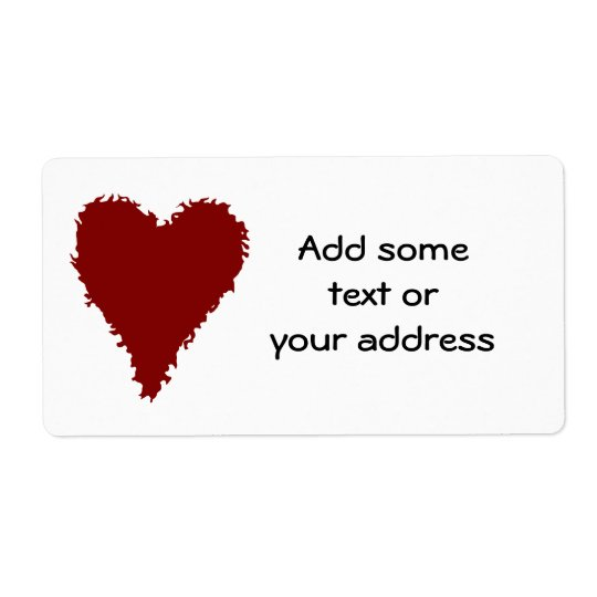 Romantic red heart large labels