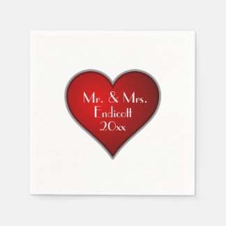 Romantic Red Heart with Name and Wedding Date Disposable Napkins