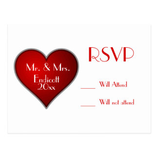 Romantic Red Heart with Name and Wedding Date RSVP Postcard