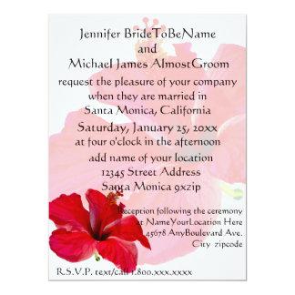 Romantic Red Hibiscus Wedding 17 Cm X 22 Cm Invitation Card
