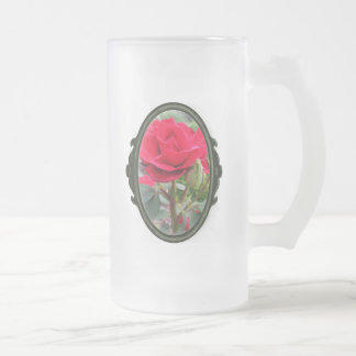 Romantic Red Hybrid Tea Rose Frosted Glass Beer Mug