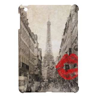 romantic Red lips Kiss I love paris eiffel tower Case For The iPad Mini