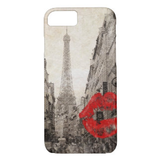 romantic Red lips Kiss I love paris eiffel tower iPhone 8/7 Case