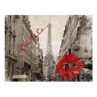 romantic Red lips Kiss I love paris eiffel tower Postcard