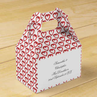 Romantic red love heart pattern favour box