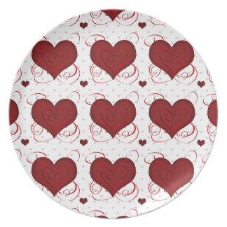 Romantic Red Love Hearts Pattern Dinner Plate