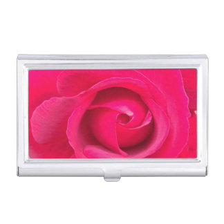 Romantic Red Pink Rose Business Card Holder