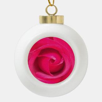 Romantic Red Pink Rose Ceramic Ball Christmas Ornament