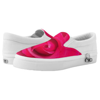 Romantic Red Pink Rose Slip On Shoes
